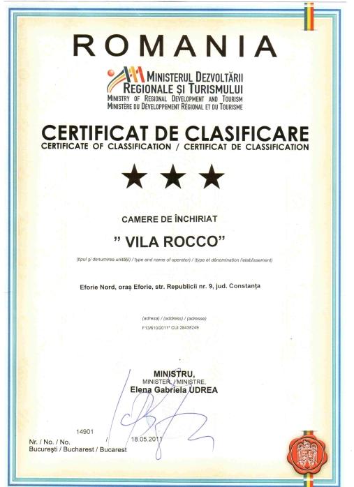 Certificat Clasificare Vila Rocco